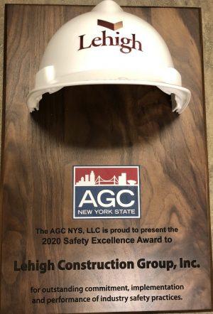 Lehigh AGC NYS Safety Excellence Award Winner 2020